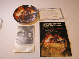 Gone With The Wind The Burning of Atlanta COA 1988 Collector Plate Golde... - $39.59