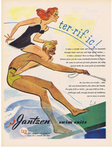 1945 JANTZEN Swim Suits Water Skiing HURST Art Pin Up Red Head Lady Prin... - $9.99