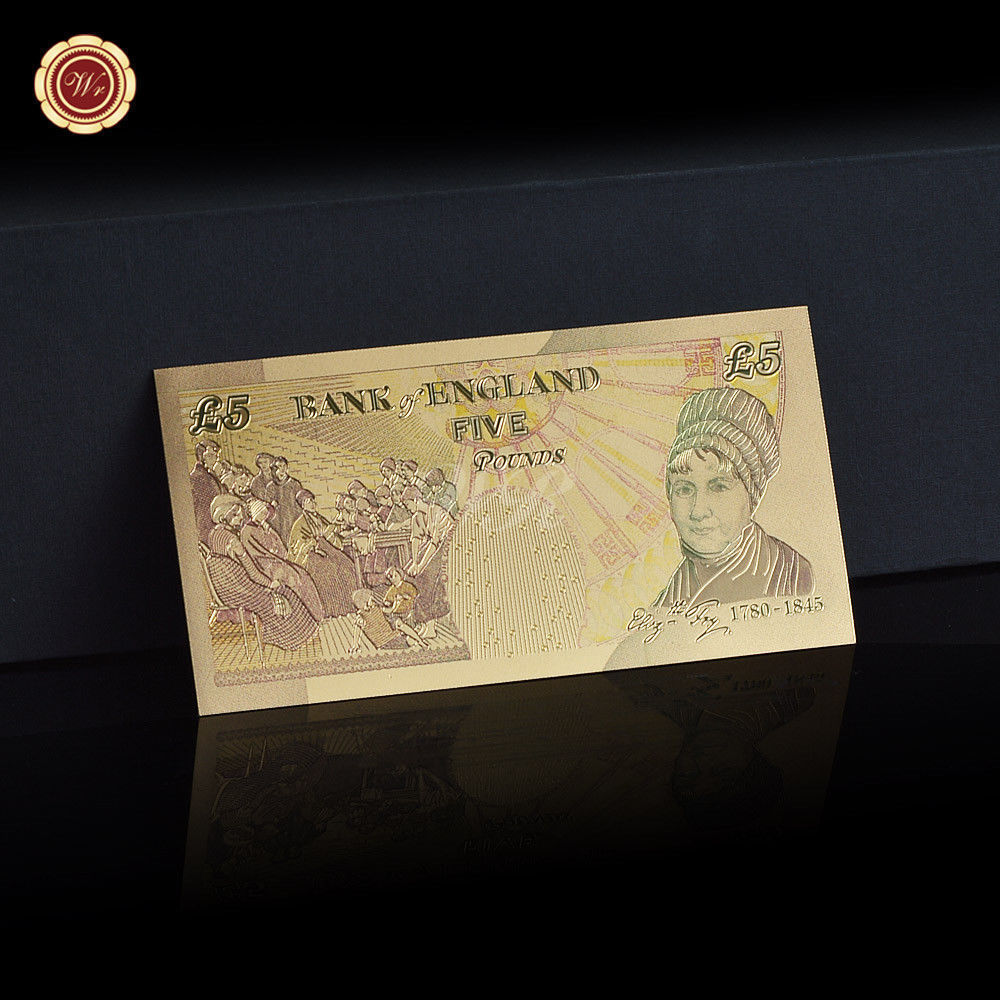 WR Set of Color Gold UK Banknotes 5 Pound - 50 Pounds British Polymer Note Gifts image 11