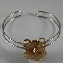 .925 RHODIUM SILVER AND YELLOW GOLD PLATED RIGID BRACELET WITH YELLOW QUARTZ image 1