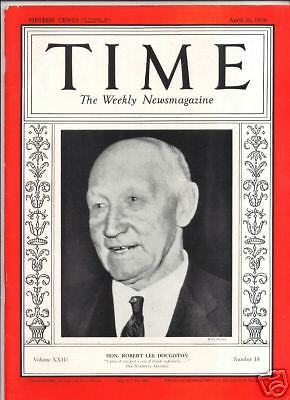 Primary image for MAGAZINE TIME  HON ROBERT LEE DOUGHTON APRIL 30  1934