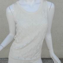 Pink Tartan Sweater Vest Cream Ivory  Embellished Size S - $32.55
