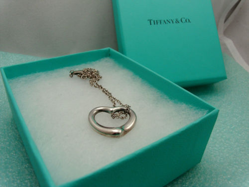 "Primary image for Tiffany & Co Medium Open Heart Pendant 16"" Necklace Sterling Silver, Pouch & Box"