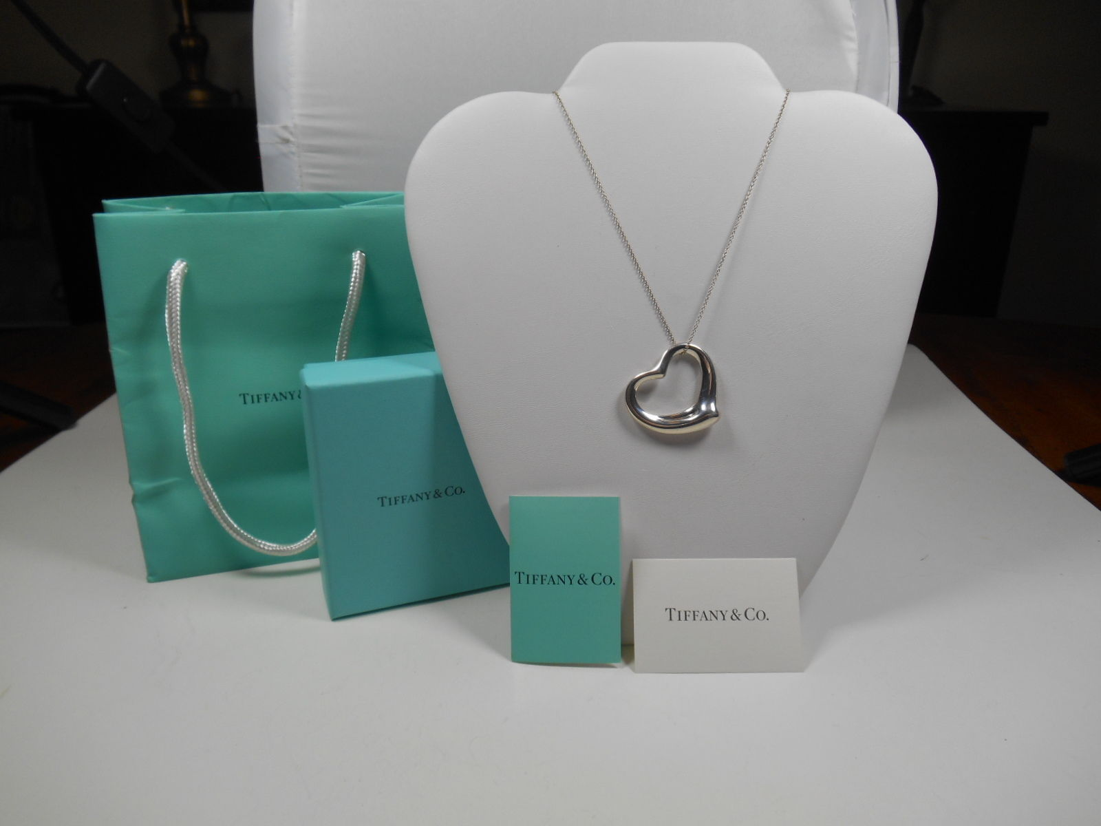 "Primary image for Tiffany & Co Elsa Peretti  XL LARGE Open Heart Pendant 24"" Necklace"