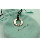 Tiffany & Co. Peretti Sevillana Circle O Silver Pendant Silk Cord Necklace - $170.23
