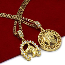 "14K Gold Plated St Steel Chain 24""/30"" Horse/American Indi Pendants Set ... - $18.79"