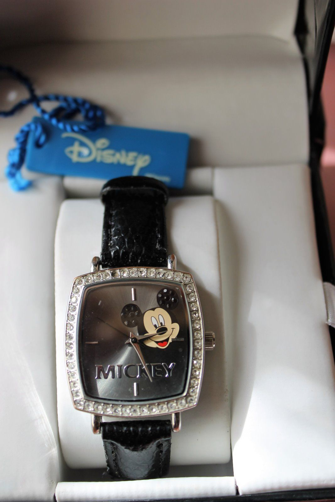 Primary image for MICKEY MOUSE DISNEY GREY FACED RHINESTONE BEZEL WATCH in Mickey Box