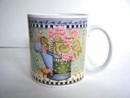 Sakura Debbie Mumm Coffee Mug Cup Spring Bouquet 1999 Pink Green Blue - $5.89