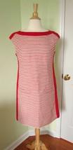 Worth NY Red strip Sheath Dress Sz 6 Linen Sleeveless Office Work Career Lined - $56.07