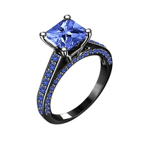 14k Black Gold Finish 925 Sterling Silver Blue Sapphire Womens Engagement Ring - £58.52 GBP