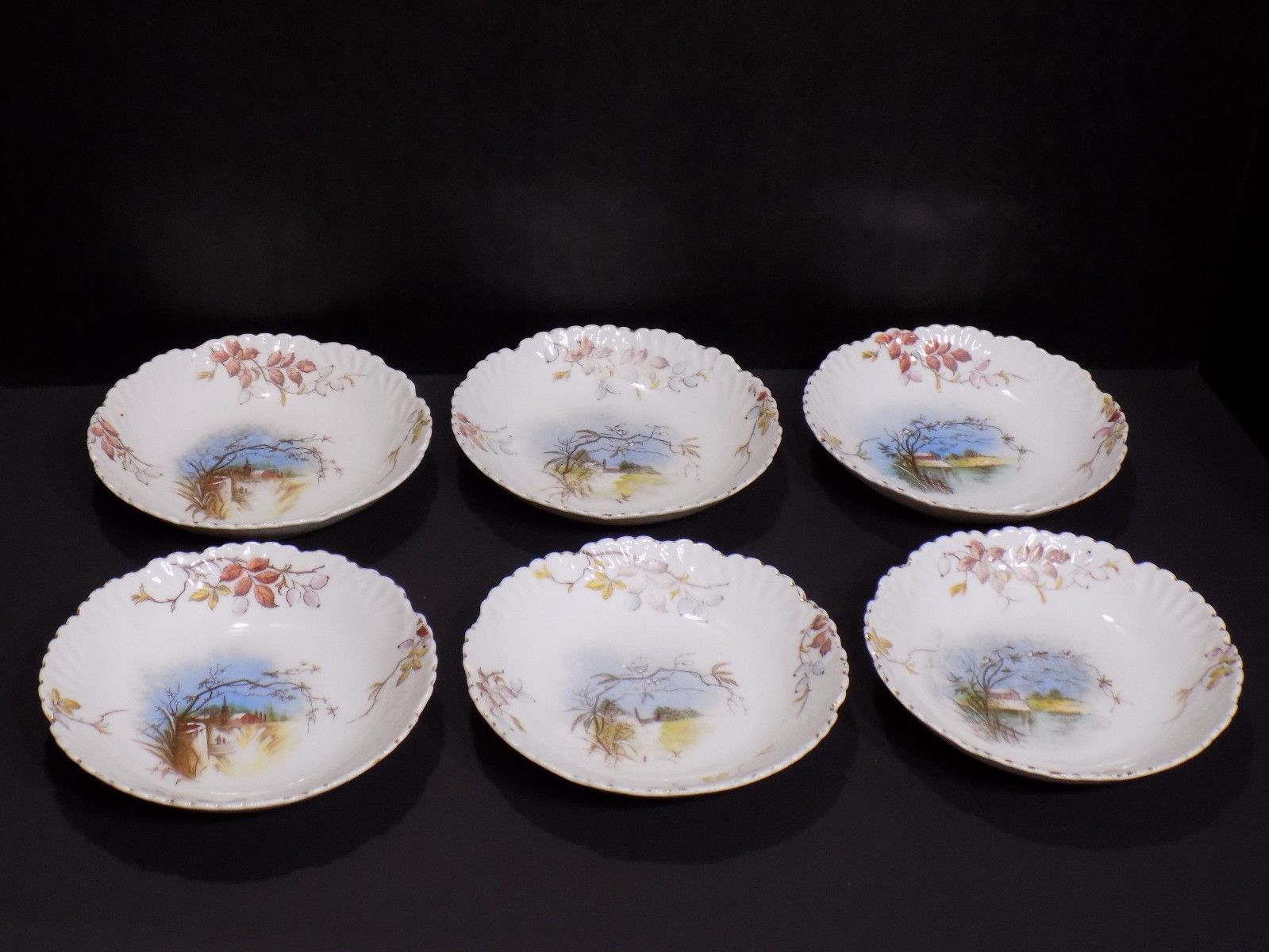 Primary image for 6 Antique CARLSBAD China Austria Unique Farm Scene Pattern Berry / Dessert Bowls
