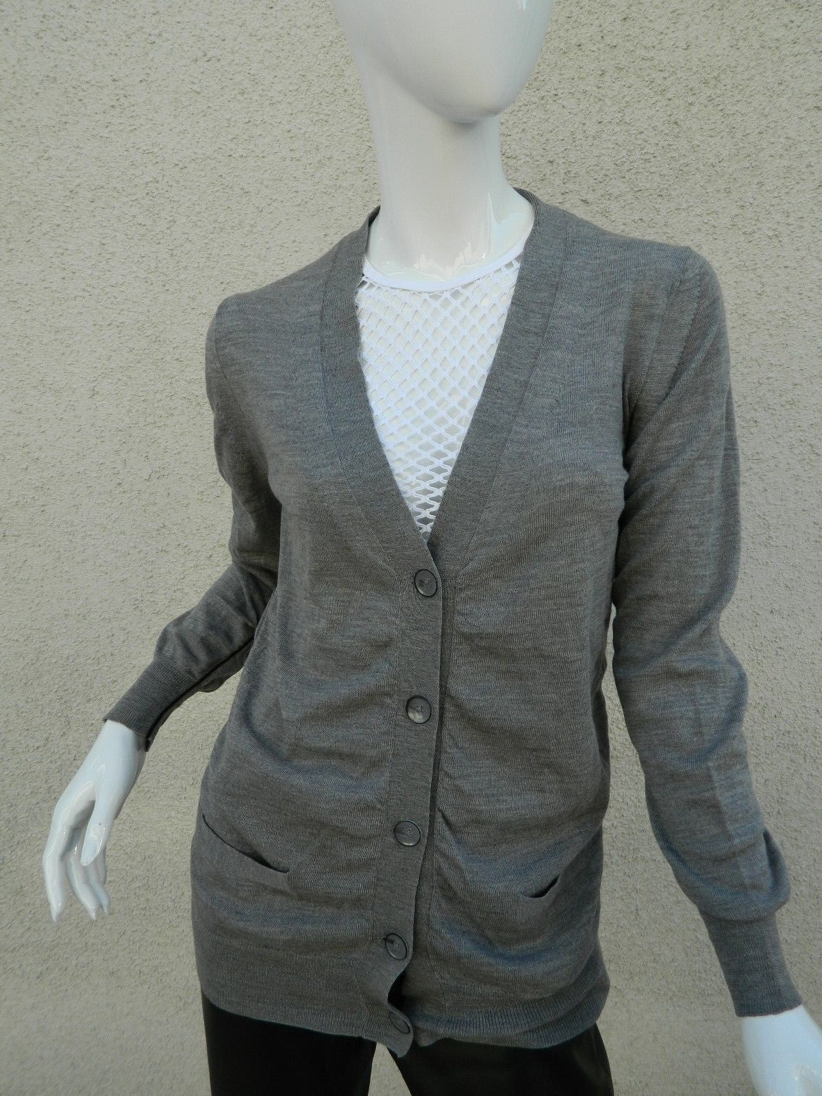 Primary image for 3.1 Phillip Lim Cardigan Sweater Gray with Black Pipping 100% Merino Wool Sz S