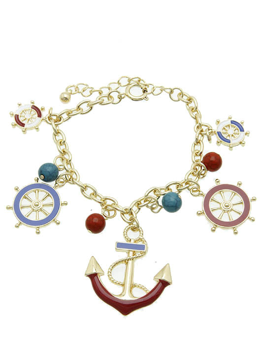 BRACELET / NAUTICAL CHARM / CHAIN / EPOXY COATED METAL / ANCHOR / SHIP WHEEL / N