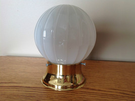 "VINTAGE 6"" WHITE GLASS VERTICAL RIBBED LIGHT FIXTURE SHADE GLOBE BRASS - $21.09"