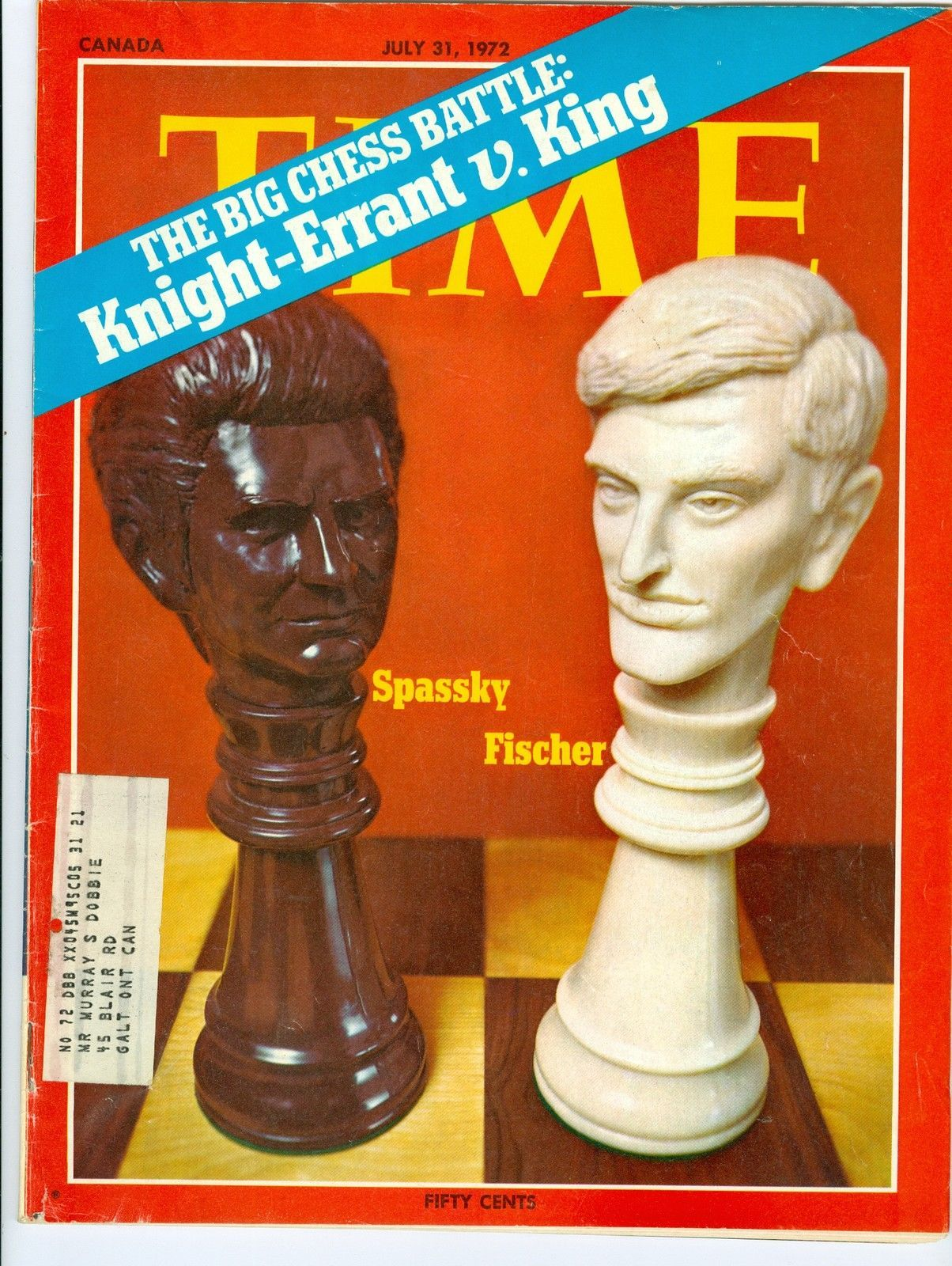 Primary image for MAGAZINE TIME  Boris Spassky Bobby Fischer JULY 31 1972