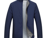 Men Business Stand Collar Zipper Spring Fall Pure Color Brief Thin Coat Jacket