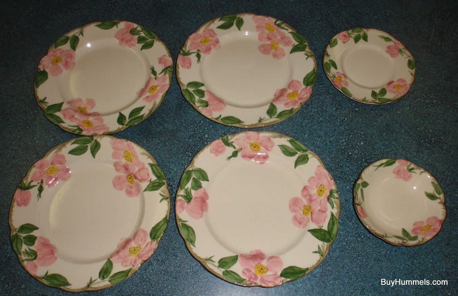 Primary image for (6) Franciscan Desert Rose Dinner And Salad Plate + Fruit Bowl - NICE FIND!