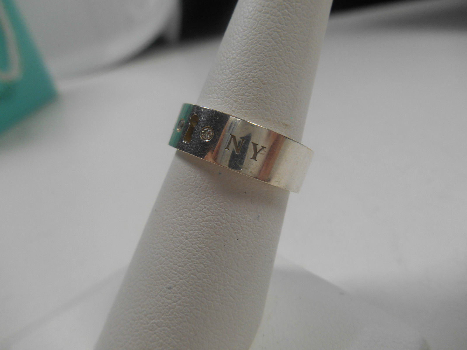 Tiffany & Co. Diamond Lock Keyhole Band Ring Sterling Silver Sizable 7