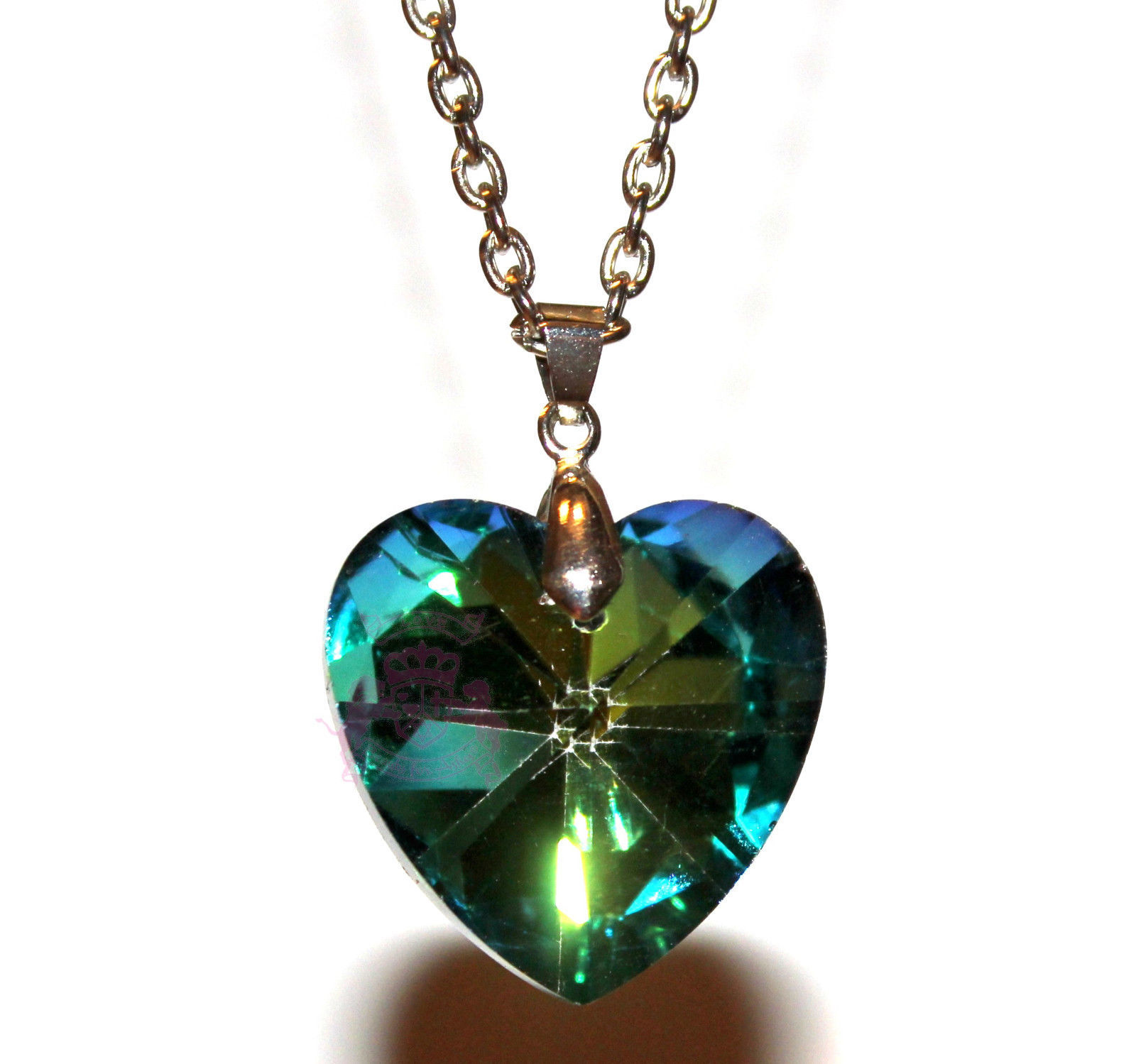 "Primary image for 1"" Rainbow Aurora Borealis Crystal Love Heart Mystic Ab Valentines Day Necklace"