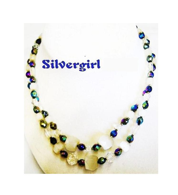 2 Strand Glass Quartz Rock Bead Vintage Necklace unknown