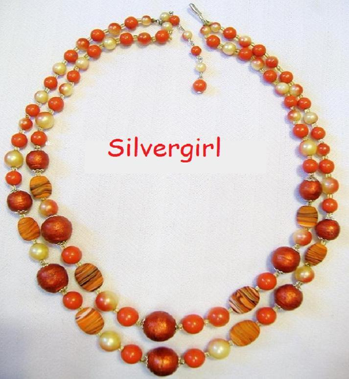 2 Strand Glass Plastic Mix Beaded Vintage Necklace  Unbranded