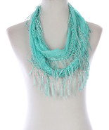 SCARF / CROCHET FRINGED / LACE INFINITY / 64 IN... - $25.00
