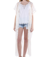 SCARF / PAISLEY PATTERN LACE / SHEER COVERUP PO... - $25.00