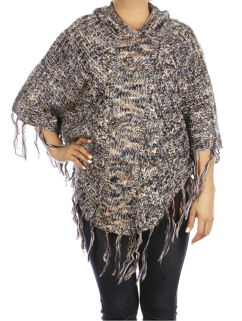 SCARF / SEQUIN EMBELLISHED / HOODED PONCHO / SIDE BUTTON CLOSURE / TASSEL / KNIT