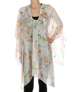 SCARF / FLORAL PRINT / PONCHO / TRIMMED / SHEER... - $25.00