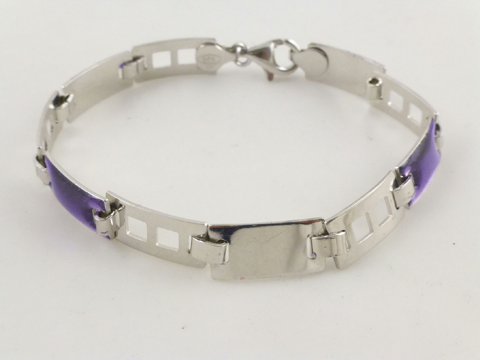 Primary image for PURPLE Enamel Link Chain BRACELET in Sterling Silver - 7.5 inches -FREE SHIPPING