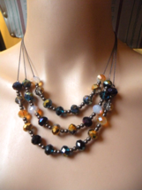 Multi Color Crystal & Glass Beaded Necklace ~ H... - $14.00