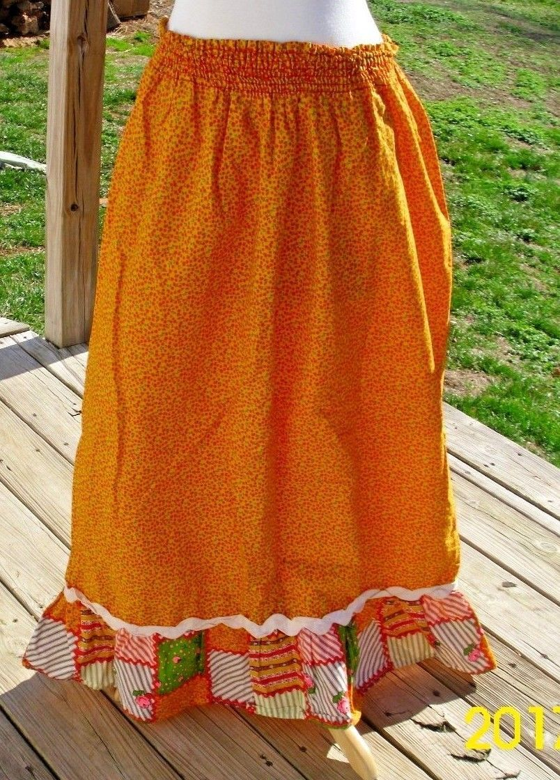 Primary image for Elaine Sklar Skirt Size Medium Cotton Yellow Paisley Patchwork Trim Long Modest
