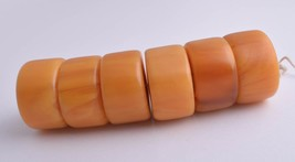 LARGE Vintage African Trade Beads-Simulated Amber Strand - $98.01