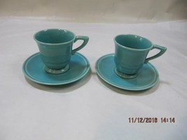 2 sets Vintage 1937 Glacial Blue Franciscan GMB Montecito Demitasse Cup ... - $49.49