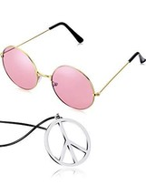 Tatuo Hippie Dressing Accessory Set Hippie Glasses and Peace Sign Neckla... - $8.43