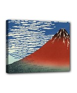 Red Fuji Hokusai Japanese Canvas Art Print 11 by 14 Inches Over Wooden F... - $37.99