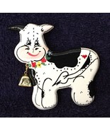 Hand Painted Wooden Cow Pin - $11.29