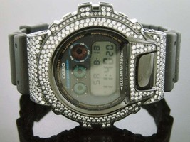 Casio G Shock Black Stainless Steel White Full Case Cz Crystal Dw 6900 - $326.69