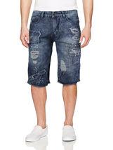 LR Scoop Men's Moto Quilted Distressed Painted Skinny Slim Fit Jean Denim Shorts image 14