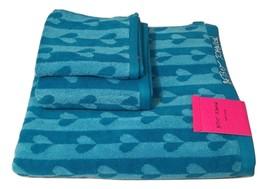 Betsey Johnson Flutter Hearts Aqua Bath Towel 3 piece Set - $39.99
