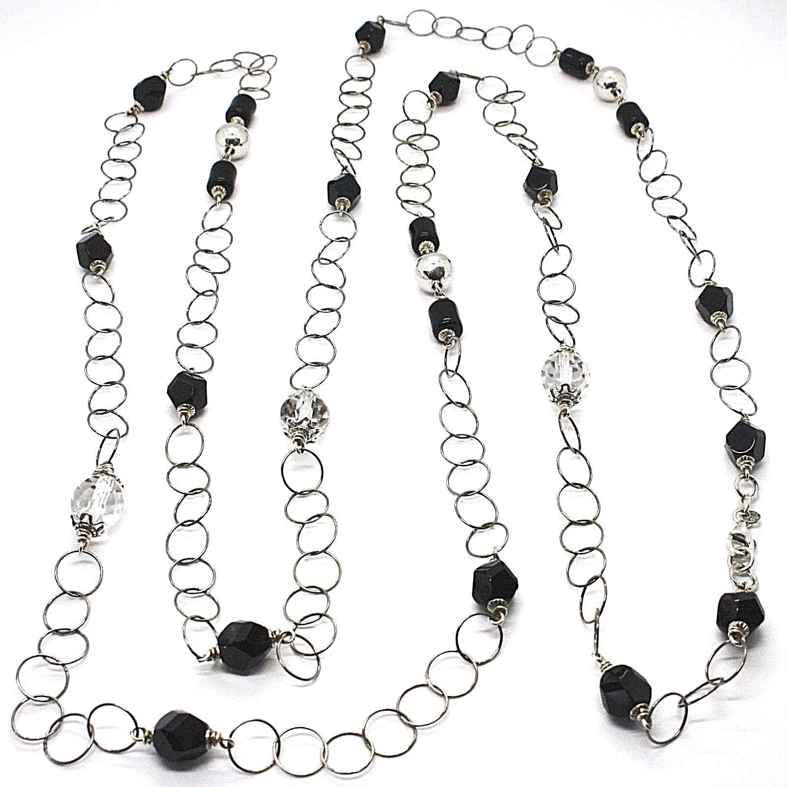 SILVER 925 NECKLACE, ONYX BLACK, LENGTH 63in, CHAIN ROLO', CIRCLES