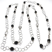 SILVER 925 NECKLACE, ONYX BLACK, LENGTH 63in, CHAIN ROLO', CIRCLES image 1