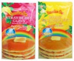 (2 PACK) Hawaiian Sun Banana Macadamia Nut & Strawberry Guava Pancake Mix - $17.63