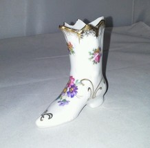 Elfinware Germany Miniature Tall Boot Shoe  Embossed Floral Gold Trim Vi... - $13.99