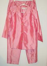 Women's Liz Clairborne Pink 100% Silk Pants Top Jacket 2 pc Set Sissy-10... - $54.60