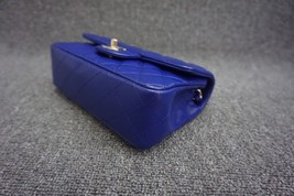 AUTH Chanel RARE ELECTRIC BLUE Quilted LAMBSKIN Large Mini 20CM Flap Bag GHW  image 5
