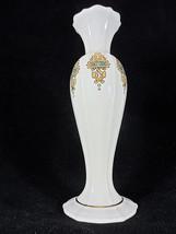 """Lenox Porcelain Bud Vase Catalan Pattern Gold Trim 8"""" Vintage 1980's - $29.68"""