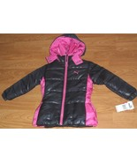 *PUMA GIRL'S QUILTED JACKET SIZE 4 BLACK PINK HOOD MSRP:$80.00 NWT - $23.99