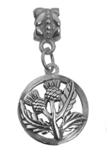 Celtic Thistle shamrock Sterling Silver 925 Charm Jewelry Irish European bead - $17.69