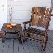 Outdoor Seating Furniture Charred and Cured Solid Pine Rocking Chair Br... - $147.60